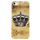 Rhinestone Crown Style Protective PVC Back Case for Iphone 5 - Khaki