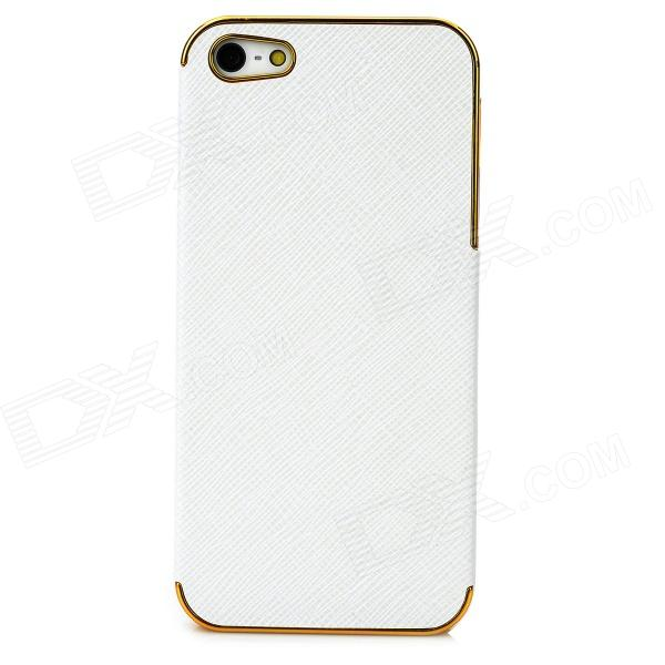 Protective PU Leather + PC Back Case for Iphone 5 - White + Golden pc tpu protective back case for iphone 5 black white