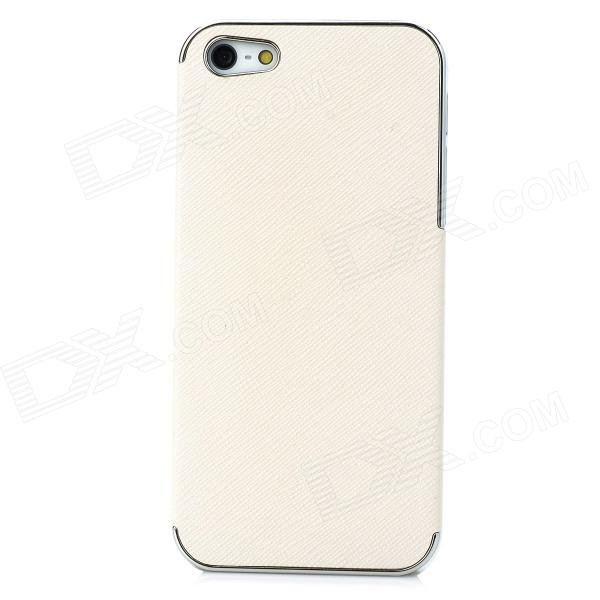 Protective PU Leather + PC Back Case for Iphone 5 - Beige + Silver