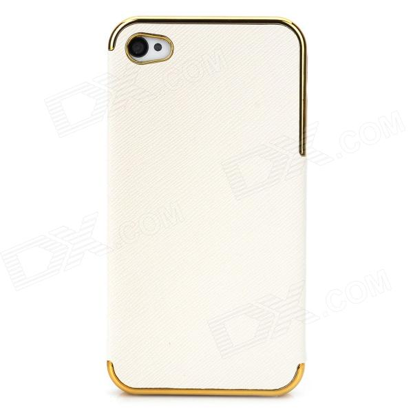 Protective PU Leather + PC Back Case for Iphone 4 / 4S - Beige + Golden