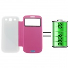 External Back Case 2400mAh Polymer Battery for Samsung Galaxy S3 i9300 - White + Deep Pink