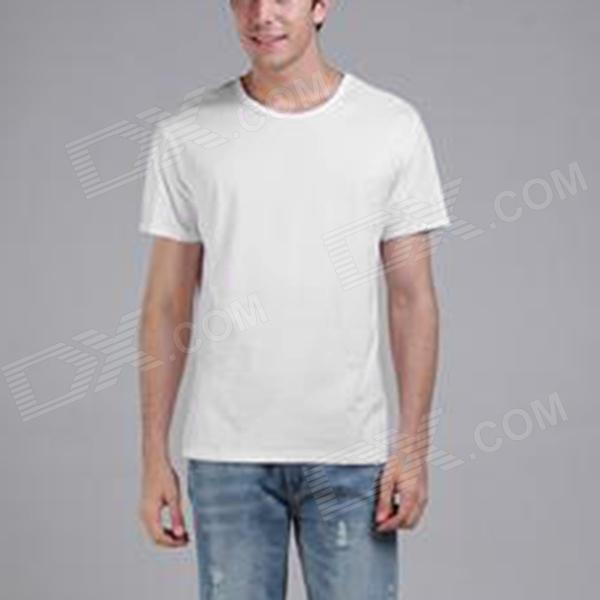 Men's Comfortable Simple Plain Cotton T-shirt - White (M)
