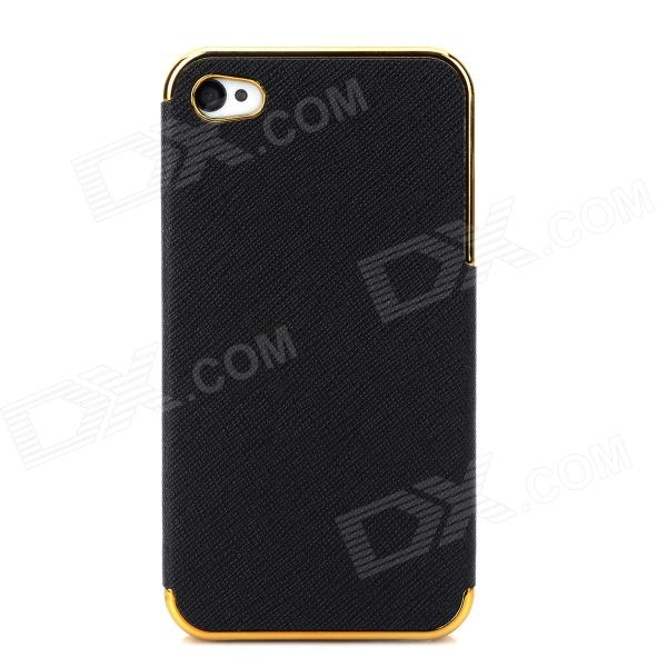 Protective PU Leather + PC Back Case for Iphone 4 / 4S - Golden + Black сотовый телефон digma vox s507 4g white
