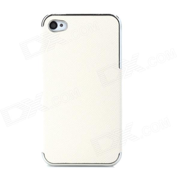 Protective PU Leather + PC Back Case for Iphone 4 / 4S - Beige + Silver штатив hoco k3 beauty wire green