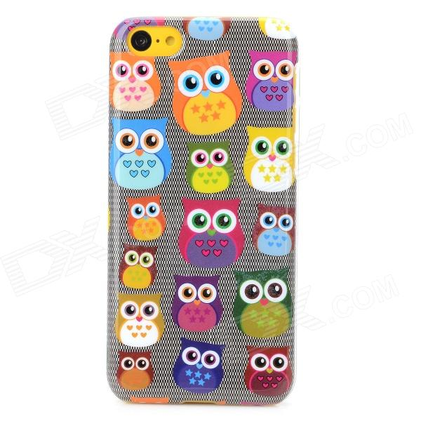 Owl Pattern Protective Plastic Case for Iphone 5C - Multicolored us flag pattern w rhinestones protective plastic back case for iphone 5c multicolored