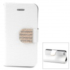 Protective Rhinestone + PU Leather + PC Case for iPhone 4 / 4S - White