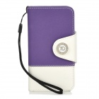 Fashionable Joint Color Flip-open PU + PC Case w/ Card Slot + Strap for iPhone 4S - Purple + White