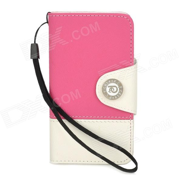 Fashionable Joint Color Flip-open PU + PC Case w/ Card Slot + Strap for Iphone 4 / 4S - Rosy + White cute owl pattern pu leather flip open case w stand card slot for iphone 4 4s multi color