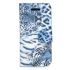 Stylish Leopard Pattern Flip-open PU + PC Case w/ Card Slot for Iphone 5C - Blue + White