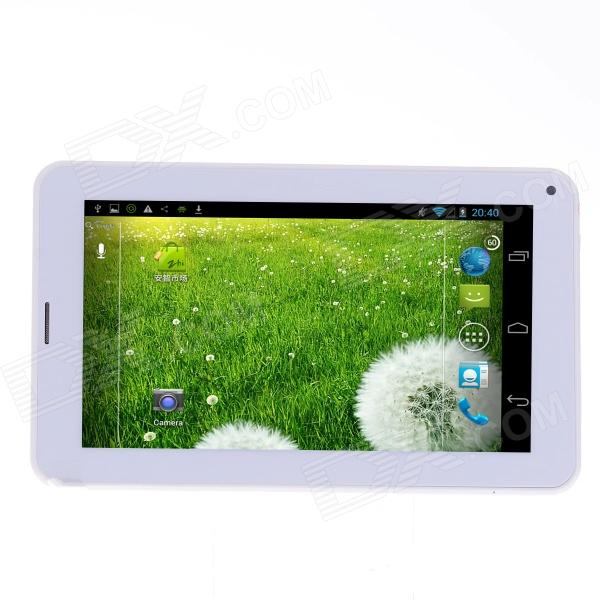 RST01 3G Phone Android 4.2.2 Dual Core Tablet PC w/ 7, 512MB RAM, 4GB ROM, GPS, Bluetooth - White jiake f1w 5 0inch capacitive touch screen mtk6572 dual core 1 2ghz smartphone 512mb 4gb 2 0mp 0 3mp android 4 2 os 3g gps with protective case black