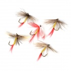 Lifelike Gnat Stainless Steel Fishing Hook - Red + Yellow (5 PCS)