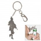 Free Soldier Zinc Alloy Bottle Opener Keychain - Silver Black