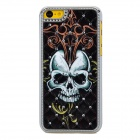 Skull Pattern w/ Rhinestones Protective Plastic Back Case for Iphone 5C - Black + Multicolored