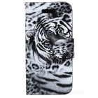 Leopard Style Protective PU Leather + Plastic Case for Iphone 5C - Black + White