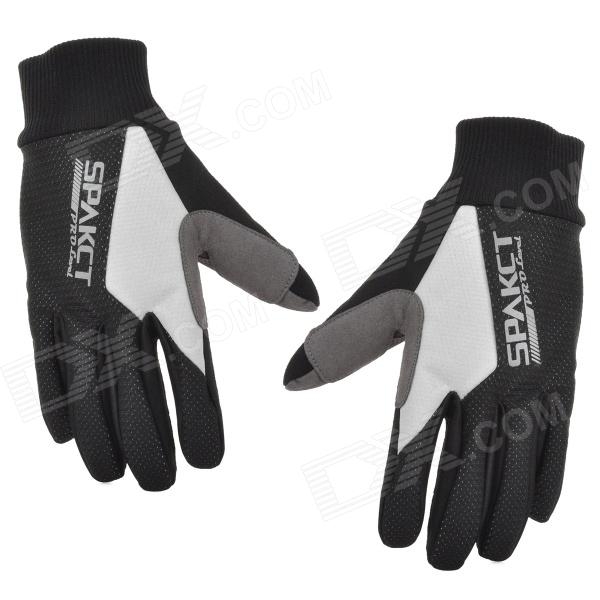 SPAKCT S13G10 Bicycle Cycling Full-finger Gloves - Black + White (XL) spakct s13g10 bicycle cycling full finger gloves black white xl