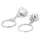 Cute Novel Zinc Alloy Couple Cup Pendant Keychain - Silver (2 CPS)