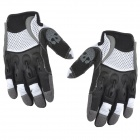 Spakct Outdoor Cycling Skull Pattern Full-Finger Breathable Gloves - White + Black (L)