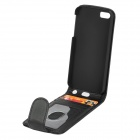 Simple Plain Flip-open PU Leather Case w/ Card Slot for Iphone 5S - Black