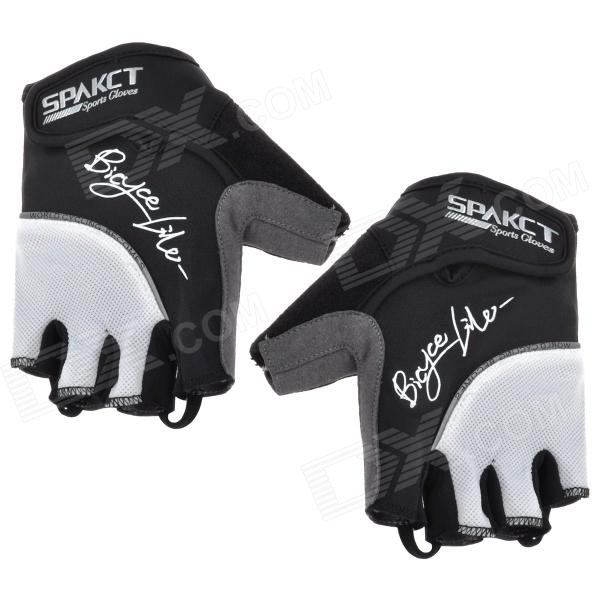 Spakct Outdoor Cycling Half-Finger Breathable Gloves - Black + White (L) spakct s13g10 bicycle cycling full finger gloves black white xl
