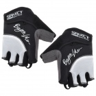 Spakct Outdoor Cycling Half-Finger Breathable Gloves - Black + White (L)