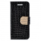 Stylish Rock Pattern Shiny Crystal Inlaid Button PU Leather Case for Iphone 5 / 5s - Black