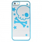 Stylish Cute Laser Etching Skull Pattern Plastic Back Case for Iphone 5 - Blue + Transparent