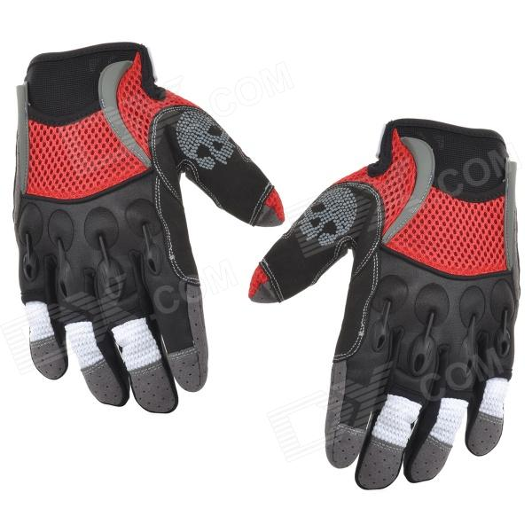 Spakct Outdoor Cycling Skull Pattern Full-Finger Breathable Gloves - Red + Black (XL) spakct s13g10 bicycle cycling full finger gloves black white xl