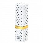 Stylish Fun Lipstick Style Polka Dot Pattern Butane Gas Lighter - White + Black + Golden