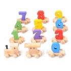 Jiahui A809 Kid's Fun Number Wood Building Block Train Toy - Multicolored