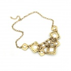 Euramerican Dominant Rhinestone Square Style Women's Necklace - Bronze + Green