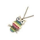 Oil Dripped Owl Pattern Sweater Chain Women's Necklace - Multicolored