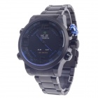 WEIDE WH-2039 Men's Quartz & LED Electronics Dual-Display Wrist Watch - Black + Blue (1 x CR2016)
