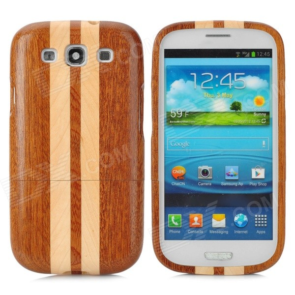 Strip Style Protective Wooden Back Case for Samsung Galaxy S3 i9300 - Brown + Khaki cool snake skin style protective pu leather case for samsung galaxy s3 i9300 brown