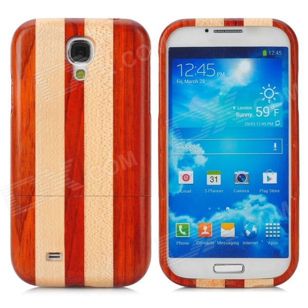 Strip Style Protective Wooden Back Case for Samsung Galaxy S4 i9500 - Brown + Khaki