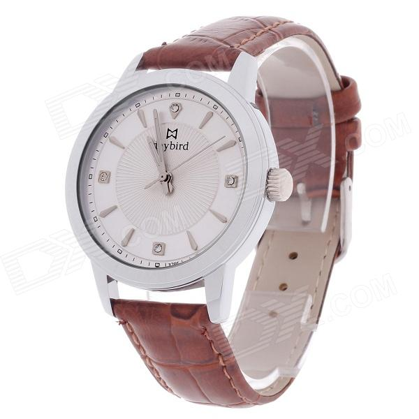 Daybird 3795 Stylish PU Leather Band Analog Quartz Men's Wrist Watch - Brown + Silver (1 x LR626) daybird 3802 pu leather band quartz analog women s wrist watch black golden white 1 x lr626