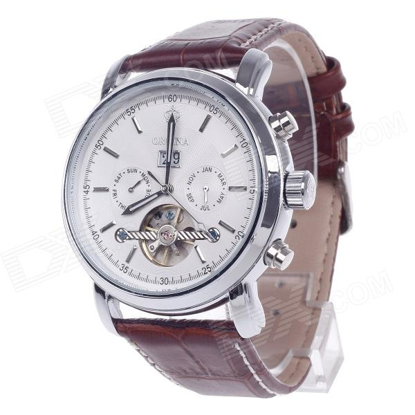 ORKINA Double-Side Hollow Style Automatic Mechanical Men's Watch w/ Date Display - Brown + Silver calendar date day display gold case male clock sport mechanical tag hour watches men luxury brand automatic tourbillon watch