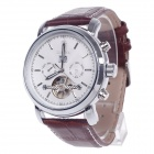 ORKINA Double-Side Hollow Style Automatic Mechanical Men's Watch w/ Date Display - Brown + Silver
