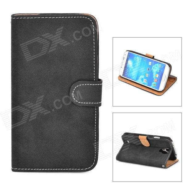 Retro Protective PU Leather Case for Samsung Galaxy S4 i9500 - Black eng