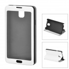 Protective PU Leather Case w/ Display Window for Samsung Galaxy Note 3 N900 - White