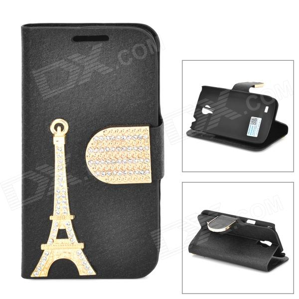 PUDINI WB-I9190 Eiffel Towel Pattern Flip-Open PU Stand Case for Samsung Galaxy S4 Mini / i9190 stylish flip open pu leather case w holder card slot for samsung s4 mini i9190 red