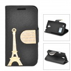 PUDINI WB-I9190 Eiffel Towel Pattern Flip-Open PU Stand Case for Samsung Galaxy S4 Mini / i9190