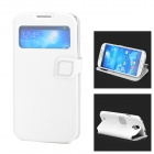 HELLO DEERE Protective PU Leather Case w/ Display Window for Samsung Galaxy S4 - White