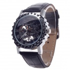 Fashionable Roman Numerals Scale Hand-Cranking Mechanical Men's Wrist Watch - Black + Silver