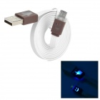 USB to Micro USB Data/Charging Cable w/ Smiley Face Indicator Light for Samsung/HTC - Brown + White
