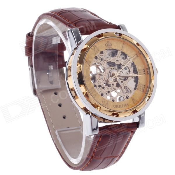 ORKINA KC023 Double-Sided Hollow Style Automatic Men's Wrist Watch - Rose Gold + Silver + Brown 40mm corgeut white sterile dial rose gold case miyota automatic mens watch