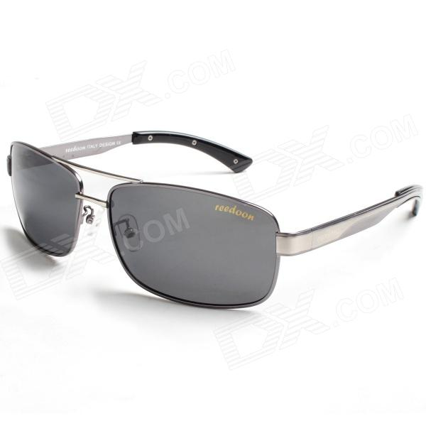 Reedoon 2108 Fashionable Magnalium UV400 Protection Polarized Sunglasses for Men - Grey reedoon 6488 men s fashionable resin lens uv400 protection polarized sunglasses silver grey