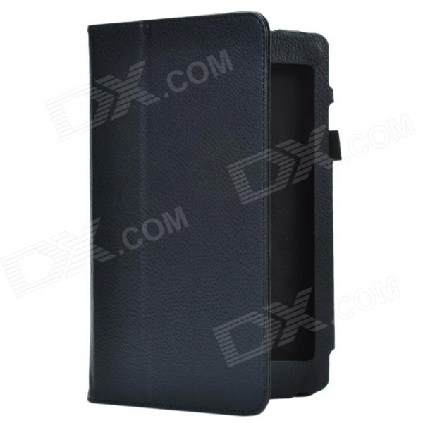 Lichee Pattern 2-Folding Protective PU Leather Case Cover Stand for Asus MeMo Pad8 ME180A - Black чехол для планшета it baggage для memo pad 8 me581 черный itasme581 1 itasme581 1
