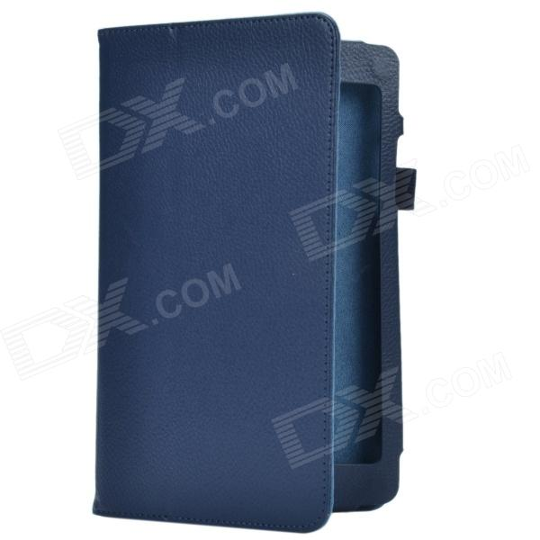 Lichee Pattern 2-Folding Protective PU Leather Case Cover Stand for Asus MeMo Pad8 ME180A - Blue чехол для планшета it baggage для memo pad 8 me581 черный itasme581 1 itasme581 1