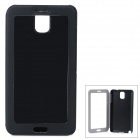 Protective PU Leather Case + Plastic Flip Open Case w/ Clear Touch Window for Samsung Note 3 - Black
