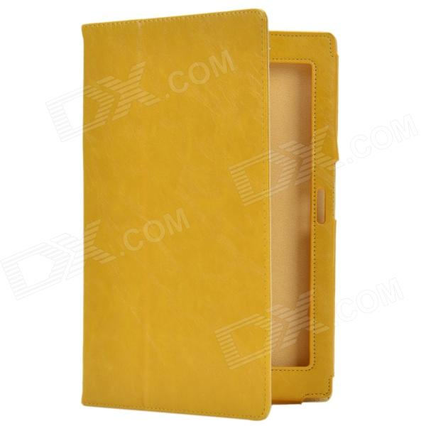 Crazy Horse Pattern 2-Folding Protective PU Leather Case Stand for Sony Xperia Tablet Z - Yellow 9 inch tablets leather case crazy horse texture case with holder for onda v891w ramos i9s pro